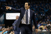 Head coach Erik Spoelstra of the Miami Heat reacts against the Charlotte Hornets during game six of the Eastern Conference Quarterfinals of the 2016...