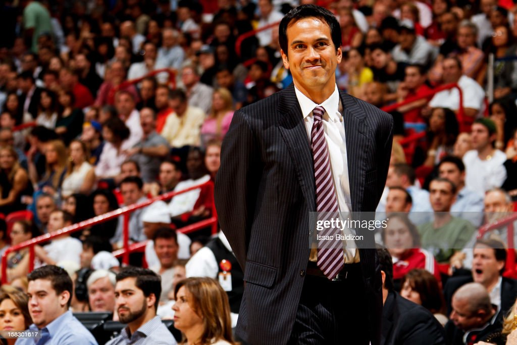 Head Coach Erik Spoelstra of the Miami Heat reacts as his team plays the Golden State Warriors on December 12, 2012 at American Airlines Arena in Miami, Florida.