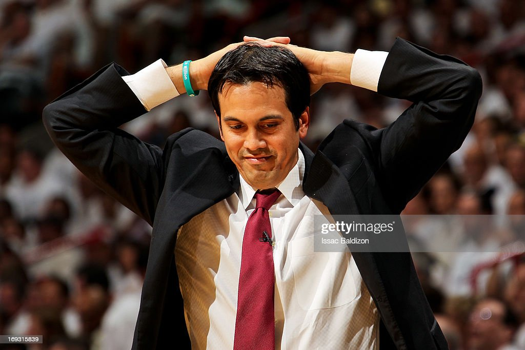 Head Coach Erik Spoelstra of the Miami Heat reacts as his team plays against the Indiana Pacers in Game One of the Eastern Conference Finals during the 2013 NBA Playoffs on May 22, 2013 at American Airlines Arena in Miami, Florida.