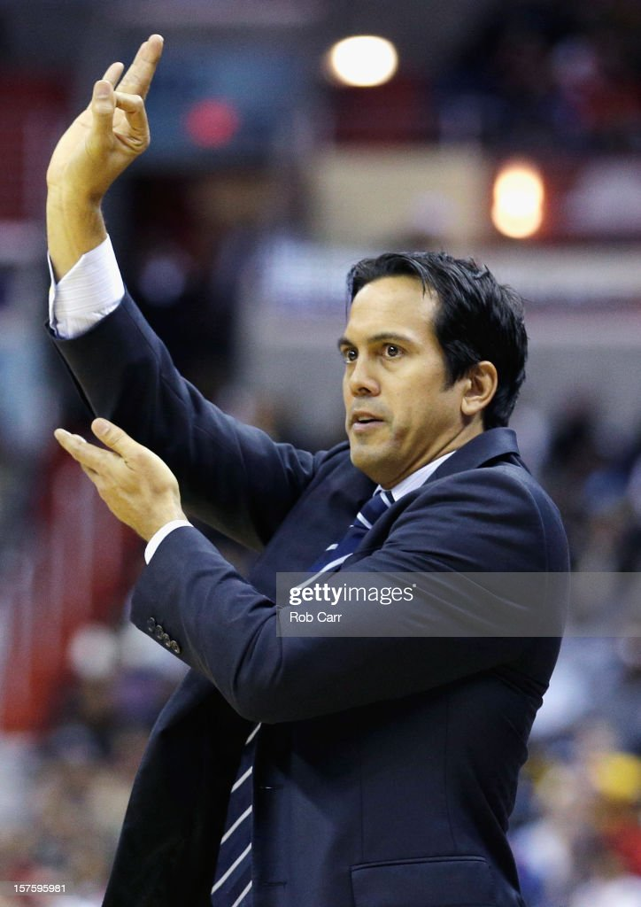 Head coach Erik Spoelstra of the Miami Heat signals from the bench during the second half of the Heat's 105-101 loss to the Washington Wizards at Verizon Center on December 4, 2012 in Washington, DC.