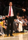 Head coach Erik Spoelstra of the Miami Heat signals in the game against the Los Angeles Lakers at Staples Center on December 25 2013 in Los Angeles...