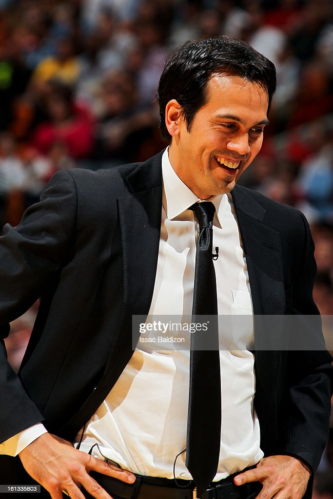Head Coach Erik Spoelstra of the Miami Heat smiles as his team plays the Los Angeles Clippers on February 8, 2013 at American Airlines Arena in Miami, Florida.