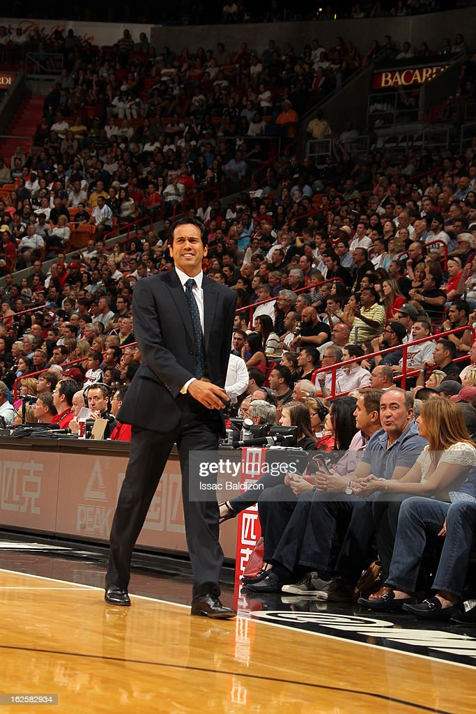 Head Coach Erik Spoelstra of the Miami Heat walks up court during a game between the Cleveland Cavaliers and the Miami Heat on February 24, 2013 at American Airlines Arena in Miami, Florida.