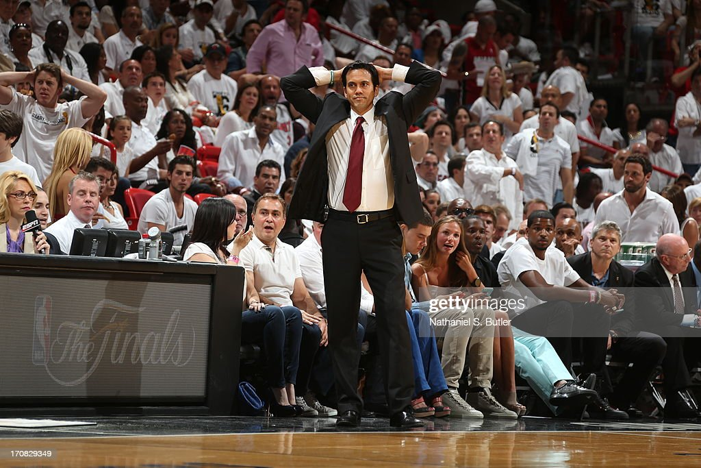 Head Coach <a gi-track='captionPersonalityLinkClicked' href=/galleries/search?phrase=Erik+Spoelstra&family=editorial&specificpeople=573142 ng-click='$event.stopPropagation()'>Erik Spoelstra</a> of the Miami Heat while playing against the San Antonio Spurs in Game Six of the 2013 NBA Finals on June 18, 2013 at American Airlines Arena in Miami, Florida.