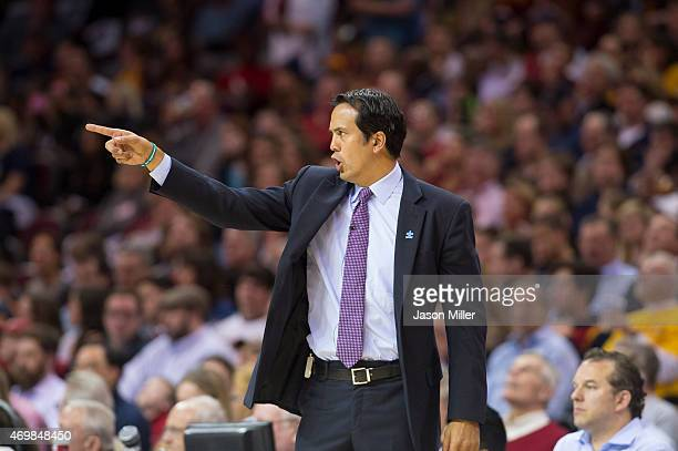 Head coach Erik Spoelstra of the Miami Heat yells to his team during the first half against the Cleveland Cavaliers at Quicken Loans Arena on April 2...