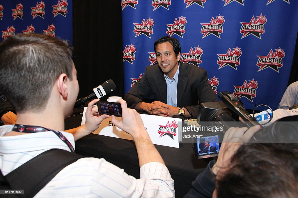 Head Coach Erik Spolestra of the Eastern Conference All-Stars speaks to the media at media availability during of the 2013 NBA All-Star Weekend at the Hilton Americas Hotel on February 15, 2013 in Houston, Texas.