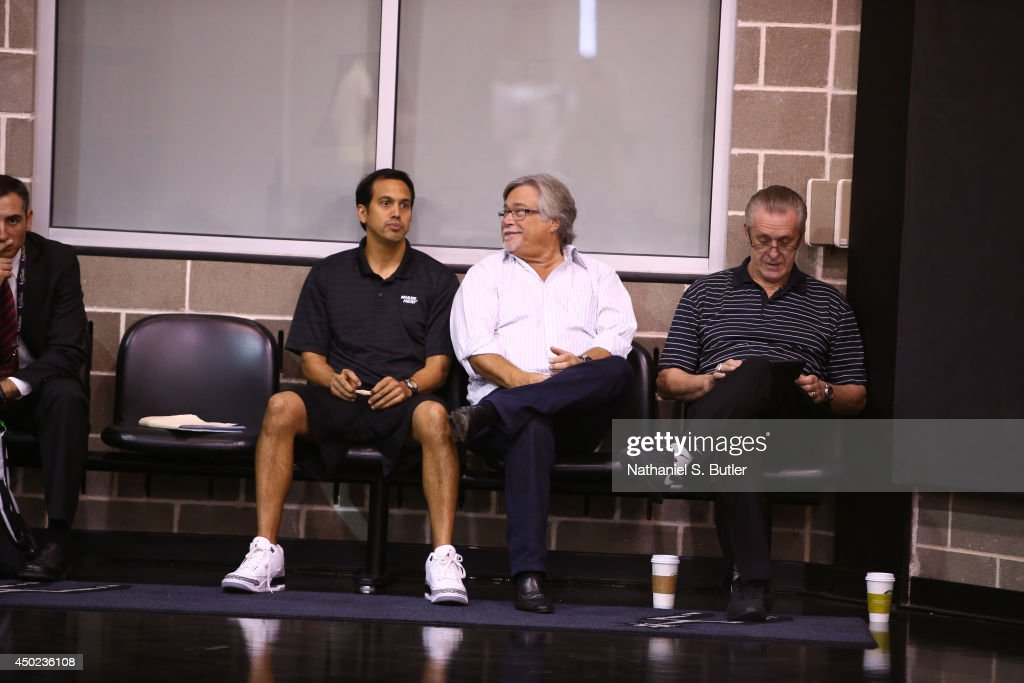 Head Coach Erik Spolestra, Owner <a gi-track='captionPersonalityLinkClicked' href=/galleries/search?phrase=Micky+Arison&family=editorial&specificpeople=544851 ng-click='$event.stopPropagation()'>Micky Arison</a> and President of Basketball Operations <a gi-track='captionPersonalityLinkClicked' href=/galleries/search?phrase=Pat+Riley&family=editorial&specificpeople=209246 ng-click='$event.stopPropagation()'>Pat Riley</a> of the Miami Heat takes in practice and media availability as part of the 2014 NBA Finals on June 7, 2014 at the Spurs Practice Facility in San Antonio, Texas.