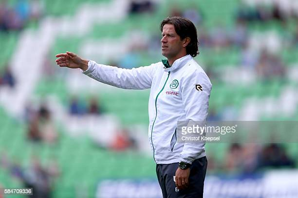 Head coach Ernest Faber of Groningen issues instructions during the friendly match between FC Groningen an FC Southampton at Euroborg Stadium on July...