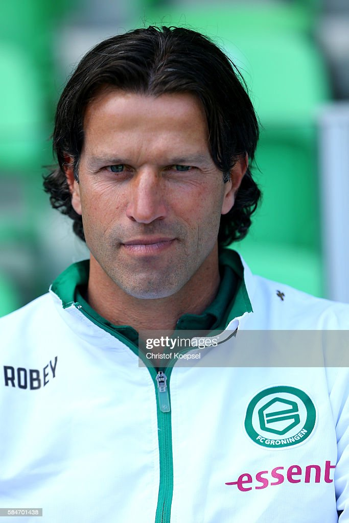 Head coach Ernest Faber of Groningen looks on during the friendly match between FC Groningen an FC Southampton at Euroborg Stadium on July 30 2016 in...