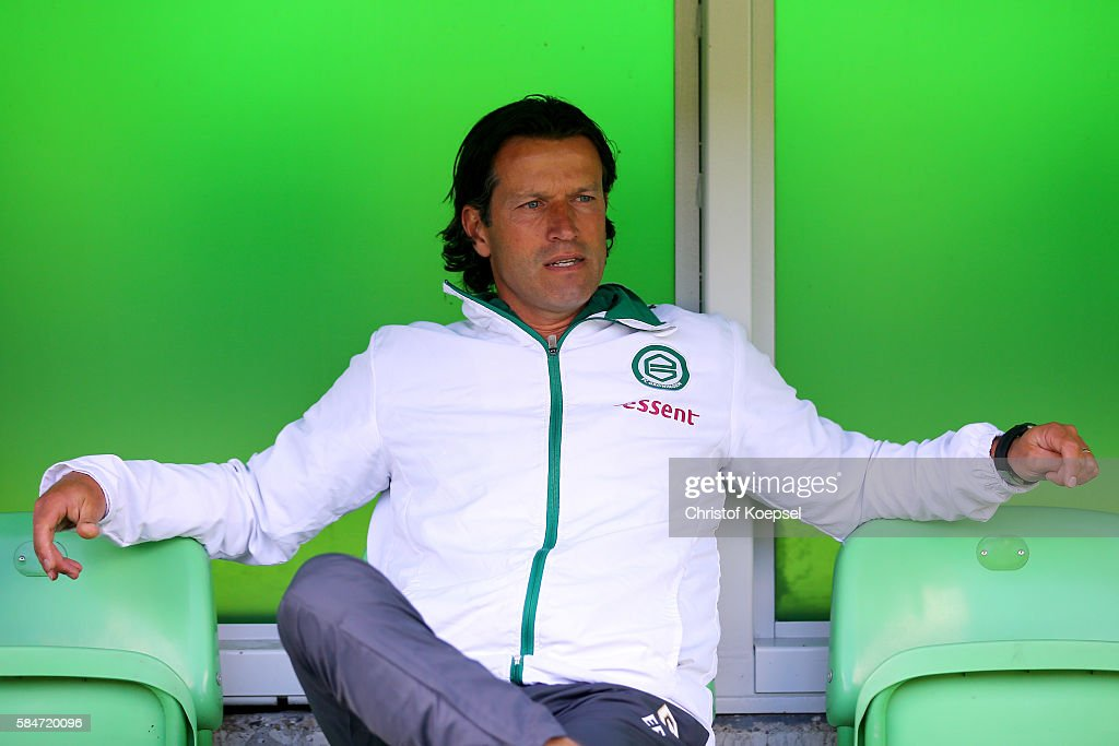 Head coach Ernest Faber of Groningen looks on prior to the friendly match between FC Groningen an FC Southampton at Euroborg Stadium on July 30 2016...