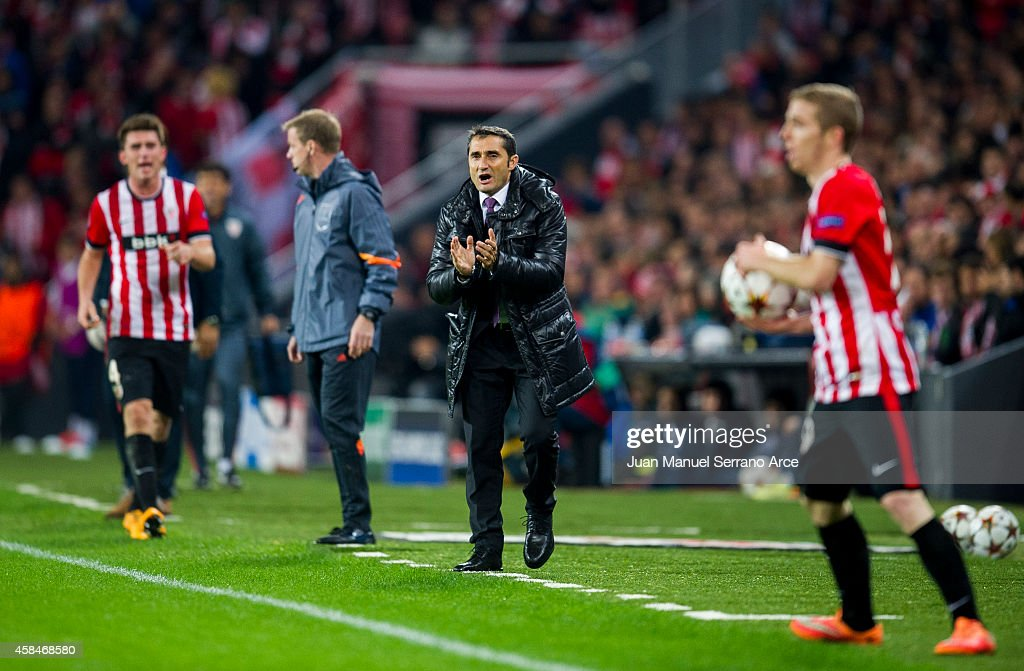 Head coach <a gi-track='captionPersonalityLinkClicked' href=/galleries/search?phrase=Ernesto+Valverde&family=editorial&specificpeople=2498803 ng-click='$event.stopPropagation()'>Ernesto Valverde</a> of Athletic Club reacts during the UEFA Champions League Group H match between Athletic Club and FC Porto at San Mames Stadium on November 5, 2014 in Bilbao, Spain.