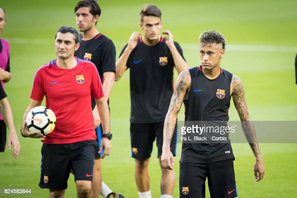 Head Coach Ernesto Valverde of Barcelona and Neymar of Barcelona during the training session for the International Champions Cup El Clásico match...