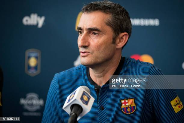 Head Coach Ernesto Valverde of FC Barcelona during the International Champions Cup Barcelona press conference prior to the match between FC Barcelona...