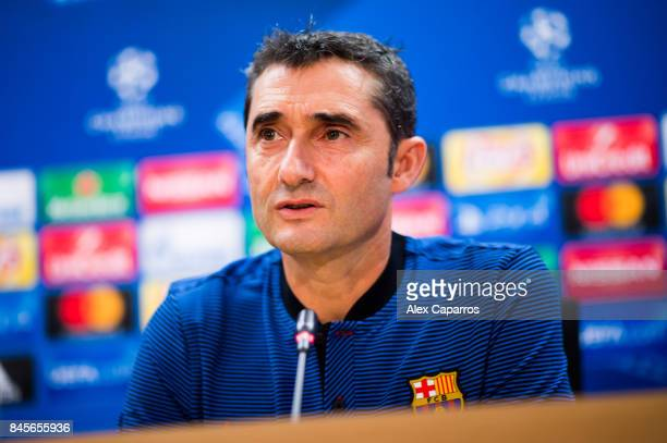 Head coach Ernesto Valverde of FC Barcelona faces the media during a press conference on the eve of their UEFA Champions League Group D match against...