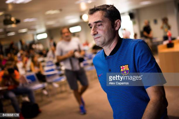 Head coach Ernesto Valverde of FC Barcelona leaves the media room after a press conference ahead of the UEFA Champions League Group D match against...