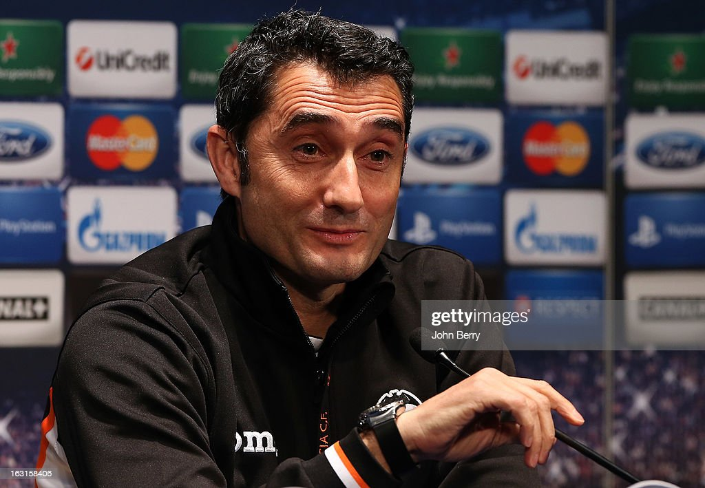 Head coach <a gi-track='captionPersonalityLinkClicked' href=/galleries/search?phrase=Ernesto+Valverde&family=editorial&specificpeople=2498803 ng-click='$event.stopPropagation()'>Ernesto Valverde</a> of Valencia CF attends a press conference on the eve of the Champions League match between Paris Saint Germain FC and Valencia CF at the Parc des Princes stadium on March 5, 2013 in Paris, France.