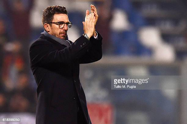 Head coach Eusebio Di Francesco of Empoli greets supporters after losing the Serie A match between US Sassuolo and AS Roma at Mapei Stadium Citta'...