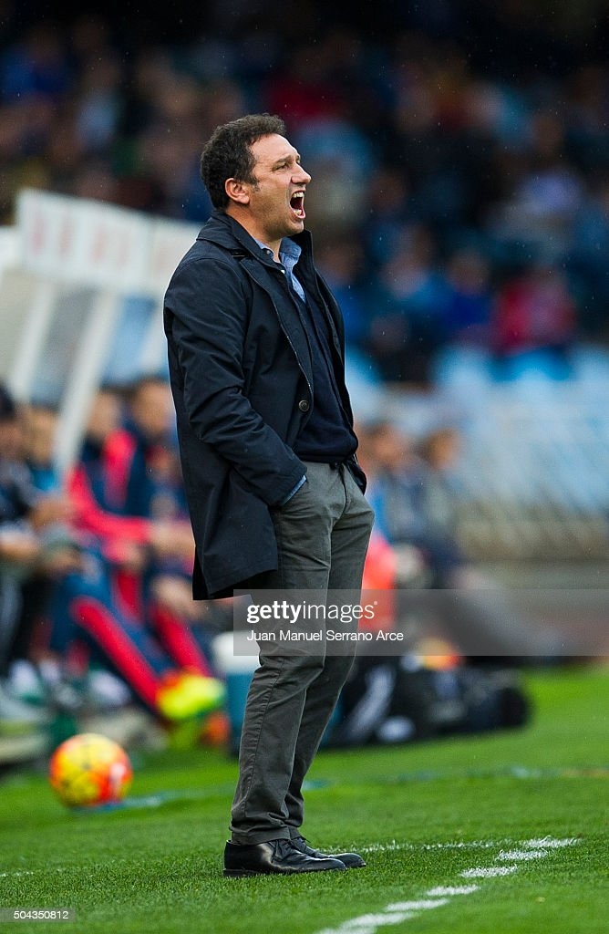 Head coach Eusebio Sacristan of Real Sociedad reacts during the La Liga match between Real Sociedad de Futbol and Valencia CF at Estadio Anoeta on January 10, 2016 in San Sebastian, Spain.