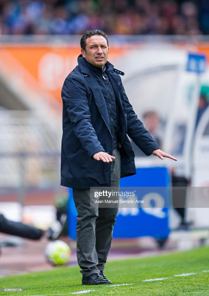 Head coach Eusebio Sacristan of Real Sociedad reacts during the La Liga match between Real Sociedad de Futbol and Real Madrid at Estadio Anoeta on April 30, 2016 in San Sebastian, Spain.