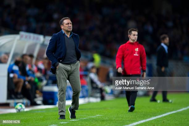 Head coach Eusebio Sacristan of Real Sociedad reacts during the La Liga match between Real Sociedad de Futbol and RCD Espanyol at Estadio Anoeta on...