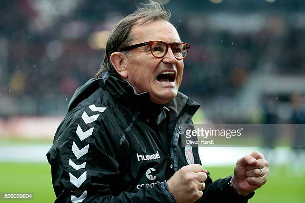 Head coach Ewald Lienen of Hamburg looks on prior to the Second Bundesliga match between FC St Pauli and 1860 Muenchen at Millerntor Stadium on April...