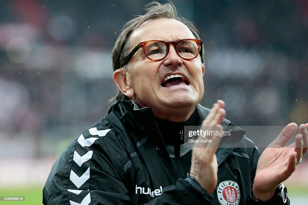 Head coach <a gi-track='captionPersonalityLinkClicked' href=/galleries/search?phrase=Ewald+Lienen&family=editorial&specificpeople=2161595 ng-click='$event.stopPropagation()'>Ewald Lienen</a> of Hamburg looks on prior to the Second Bundesliga match between FC St. Pauli and 1860 Muenchen at Millerntor Stadium on April 29, 2016 in Hamburg, Germany.