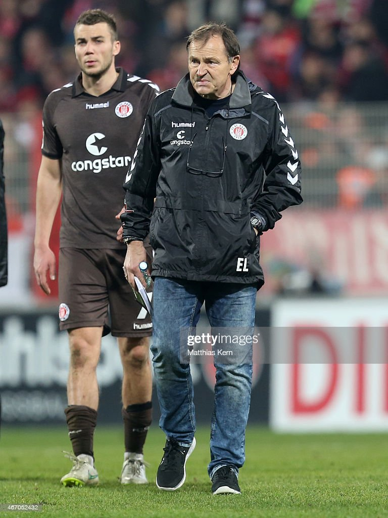 Head coach Ewald Lienen of Hamburg shows his frustration after loosing the Second Bundesliga match between 1FC Union Berlin and FC St Pauli at...