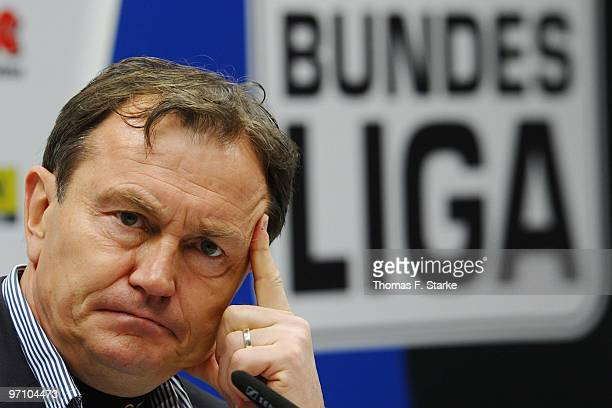 Head coach Ewald Lienen of Munich looks on at the press conference after the Second Bundesliga match between SC Paderborn and 1860 Muenchen at...