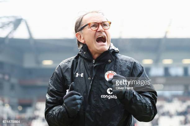 Head coach Ewald Lienen of Pauli looks on prior to the during the Second Bundesliga match between FC St Pauli and 1 FC Heidenheim 1846 at Millerntor...