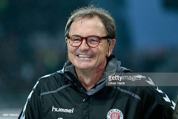 Head coach Ewald Lienen of Pauli looks on prior to the Second Bundesliga match between FC St Pauli and MSV Duisburg at Millerntor Stadium on...