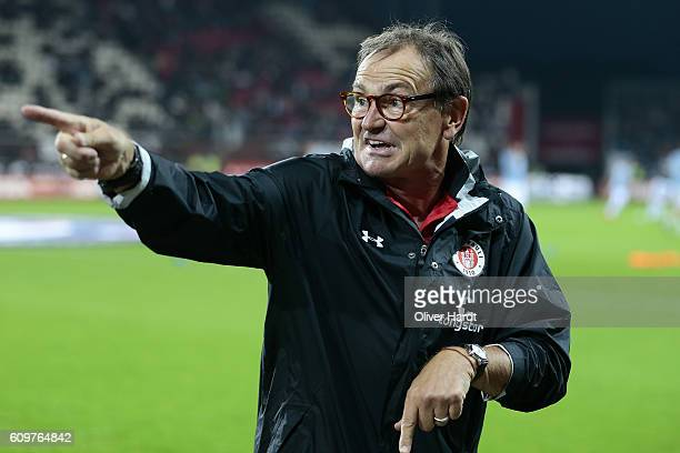 Head coach Ewald Lienen of Pauli looks on prior to the Second Bundesliga match between FC St Pauli and TSV 1860 Muenchen at Millerntor Stadium on...