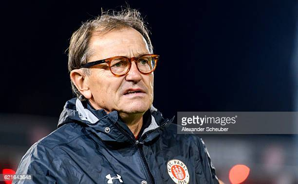 Head coach Ewald Lienen of St Pauli is seen during the Second Bundesliga match between FC Wuerzburger Kickers and FC St Pauli at flyeralarm Arena on...