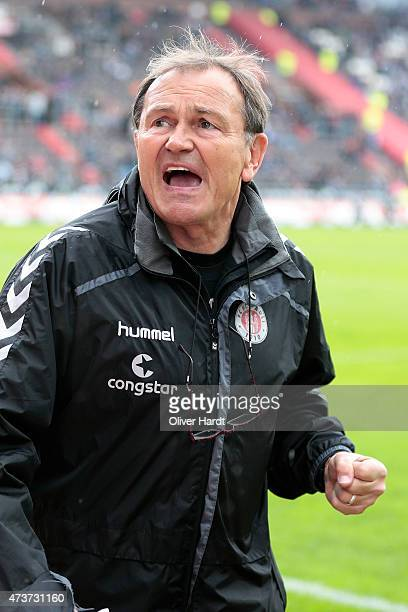 Head coach Ewald Lienen of St Pauli looks on prior to the Second Bundesliga match between FC St Pauli and VfL Bochum at Millerntor Stadium on May 17...