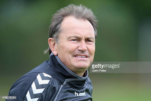 Head coach Ewald Lienen of St Pauli pictured during a training session on June 22 2015 in Hamburg Germany