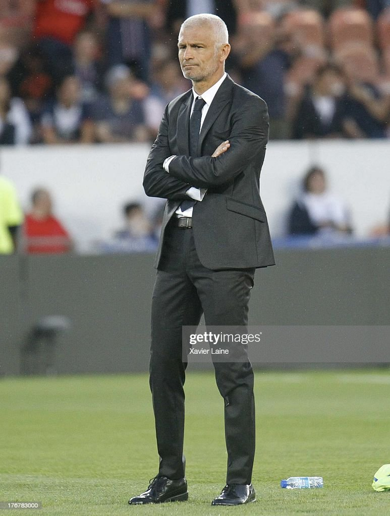 Head coach Fabrizio Ravanelli of Ajaccio AC during the French League 1 between Paris Saint-Germain FC and AC Ajaccio, at Parc des Princes on August 18, 2013 in Paris, France.