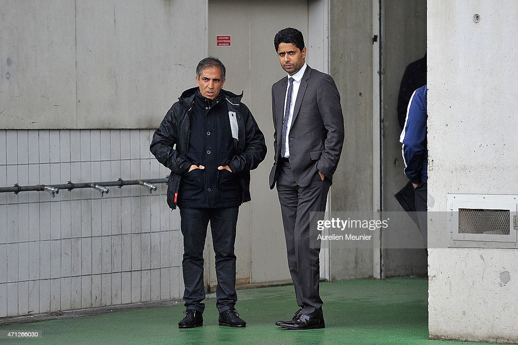 Head Coach Farid Benstiti (L) and PSG President Nasser Al-Khelaifi (R) before the UEFA Womens Champions League Semifinal game between Paris Saint Germain and VfL Wolfsburg at Stade Charlety on April 26, 2015 in Paris, France.
