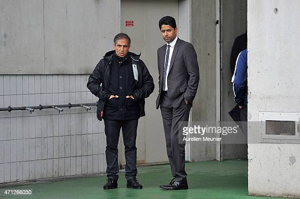 Head Coach Farid Benstiti and PSG President Nasser AlKhelaifi before the UEFA Womens Champions League Semifinal game between Paris Saint Germain and...