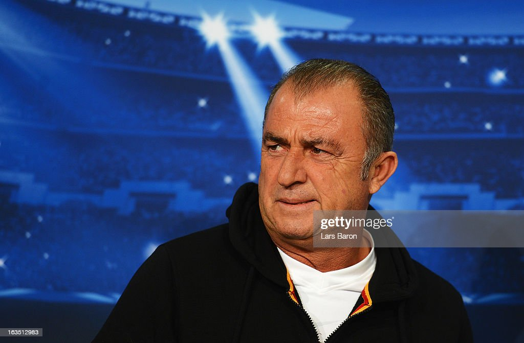 Head coach <a gi-track='captionPersonalityLinkClicked' href=/galleries/search?phrase=Fatih+Terim&family=editorial&specificpeople=602376 ng-click='$event.stopPropagation()'>Fatih Terim</a> is seen during a Galatasaray AS press conference ahead of their UEFA Champions League round of 16 match against FC Schalke 04 at Veltins Arena on March 11, 2013 in Gelsenkirchen, Germany.