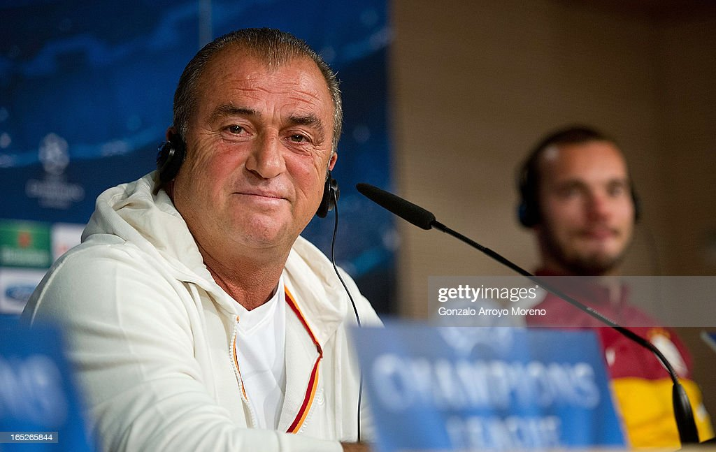 Head coach Fatih Terim listens to questions from the media during a press conference ahead of the UEFA Champions League Quarterfinal match between Real Madrid and Galatasaray AS at Santiago Bernabeu Stadium on April 2, 2013 in Madrid, Spain.