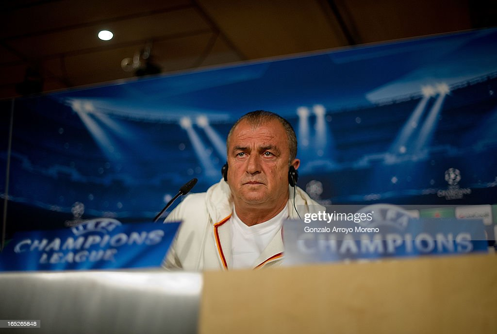 Head coach <a gi-track='captionPersonalityLinkClicked' href=/galleries/search?phrase=Fatih+Terim&family=editorial&specificpeople=602376 ng-click='$event.stopPropagation()'>Fatih Terim</a> listens to questions from the media during a press conference ahead of the UEFA Champions League Quarterfinal match between Real Madrid and Galatasaray AS at Santiago Bernabeu Stadium on April 2, 2013 in Madrid, Spain.
