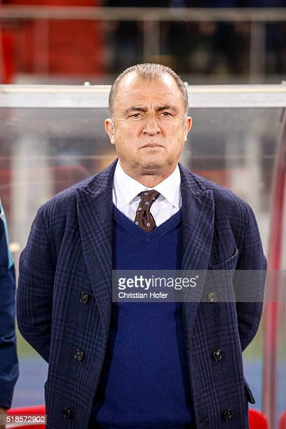 Head coach Fatih Terim of Turkey lines up during the national anthem prior to the international friendly match between Austria and Turkey at...