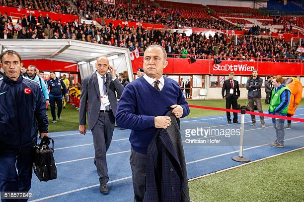Head coach Fatih Terim of Turkey on the way to the pitch prior to the international friendly match between Austria and Turkey at ErnstHappelStadium...