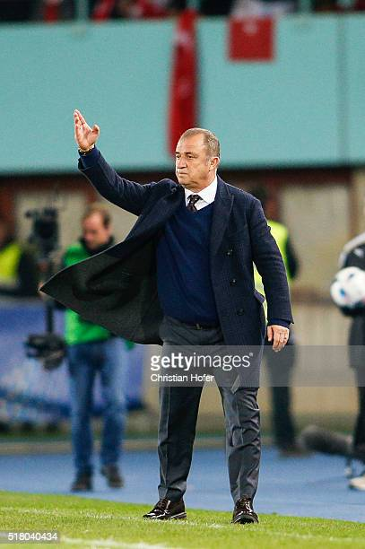 Head coach Fatih Terim of Turkey reacts on the touchline during the international friendly match between Austria and Turkey at ErnstHappelStadium on...