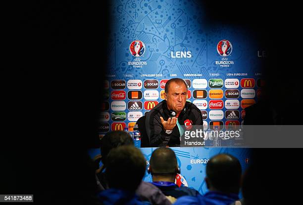 Head Coach Fatih Terim of Turkey talks to the media during the Turkey Press Conference at the Stade BollaertDelelis on June 20 2016 in Lens France
