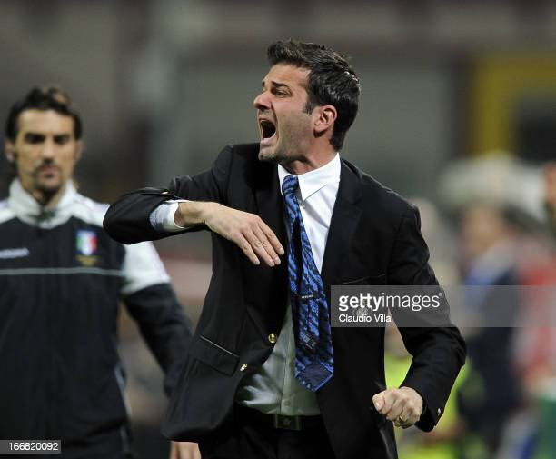 Head coach FC Inter Milan Andrea Stramaccioni reacts during the TIM Cup semifinal match between FC Internazionale Milano and AS Roma at Giuseppe...