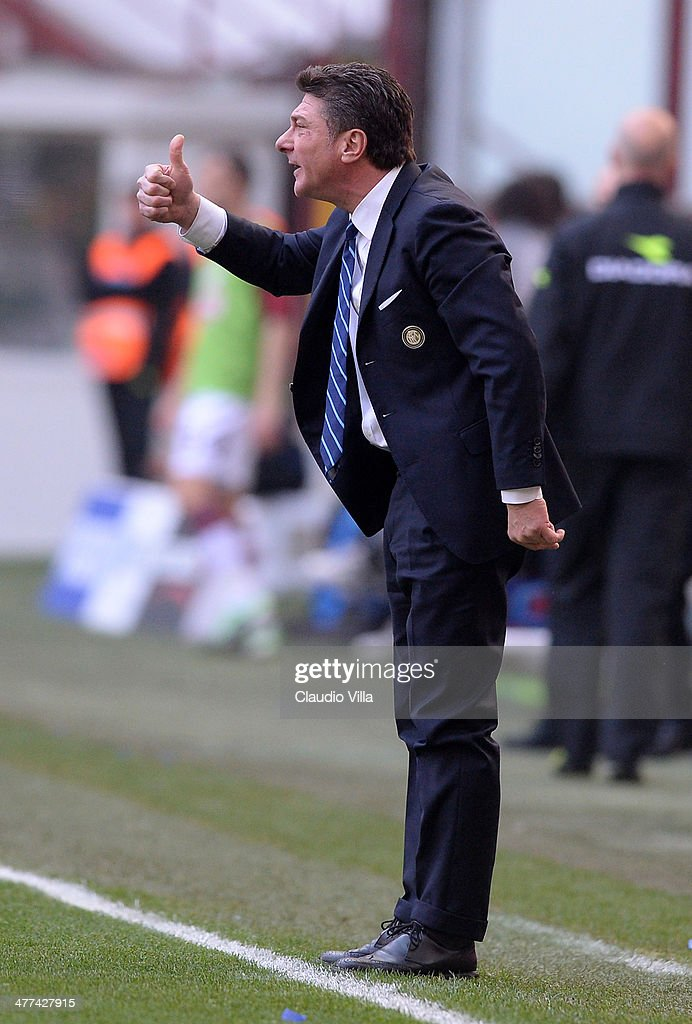Head coach FC Inter Milan <a gi-track='captionPersonalityLinkClicked' href=/galleries/search?phrase=Walter+Mazzarri&family=editorial&specificpeople=5314636 ng-click='$event.stopPropagation()'>Walter Mazzarri</a> reacts during the Serie A match between FC Internazionale Milano and Torino FC at San Siro Stadium on March 9, 2014 in Milan, Italy.
