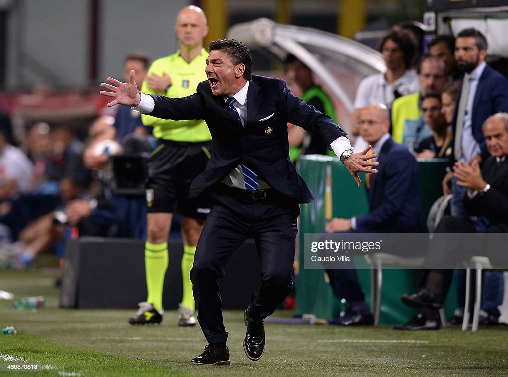 Head coach FC Inter Milan <a gi-track='captionPersonalityLinkClicked' href=/galleries/search?phrase=Walter+Mazzarri&family=editorial&specificpeople=5314636 ng-click='$event.stopPropagation()'>Walter Mazzarri</a> reacts during the Serie A match between FC Internazionale Milano and SSC Napoli at San Siro Stadium on April 26, 2014 in Milan, Italy.