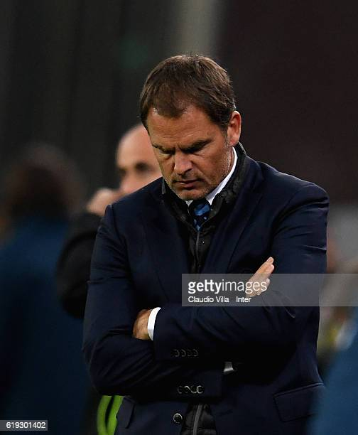 Head coach FC Internazionale Frank de Boer dejected during the Serie A match between UC Sampdoria and FC Internazionale at Stadio Luigi Ferraris on...