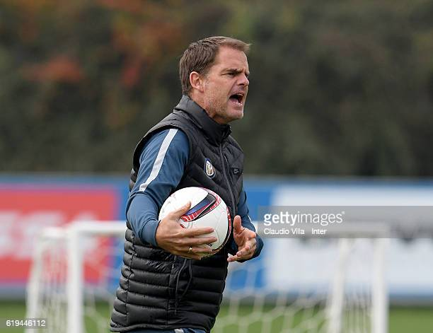 Head coach FC Internazionale Frank de Boer reacts during the FC Internazionale training session at the club's training ground at Appiano Gentile on...