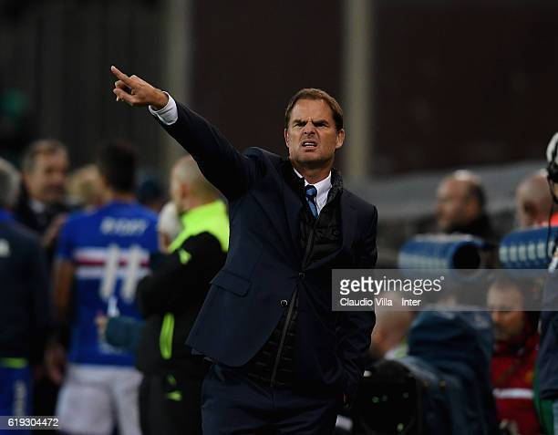 Head coach FC Internazionale Frank de Boer reacts during the Serie A match between UC Sampdoria and FC Internazionale at Stadio Luigi Ferraris on...